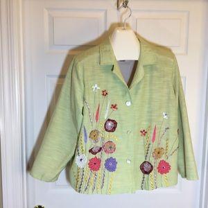 Indigo Moon Embroidered Sequined Jacket 1X Jacket